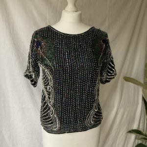 1980's Vintage Frank Usher sequin and beaded top